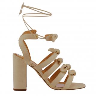 Charlotte Olympia beige bow detail sandals