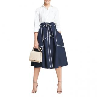 Carolina Herrera Navy Blue Cotton Evase Skirt.