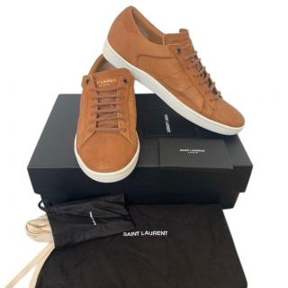 Saint Laurent Tan Leather Low-Top Sneakers