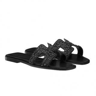 Hermes Black Crystal Embellished Oran Sandals