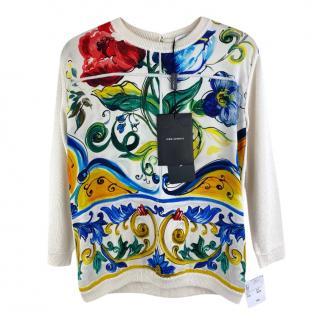 Dolce & Gabbana Kids 3Y Majolica Print Silk Top
