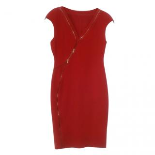 Antonio Berardi Red Zip Detail Fitted Dress