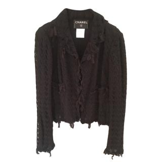 Chanel Black Sheer Tweed Jacket