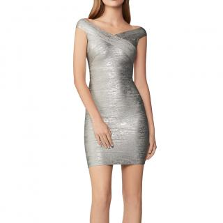 Herve Leger Silver Foil Bandage Mini Dress