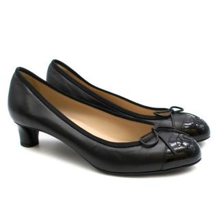 Chanel Black Leather Patent Cap-Toe Pumps