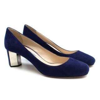 Prada Blue Suede Geometric Block Heel Pumps
