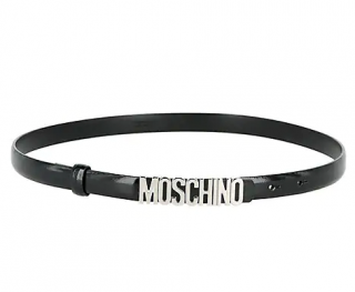 Moschino Black Leather Skinny Logo Belt