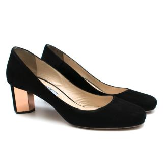 Prada Black Suede Geometric Block Heel Pumps