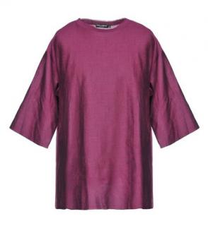 Dolce & Gabbana Purple Linen Blend Oversize Top
