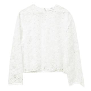 Victoria Beckham Floral Embroidered White Top