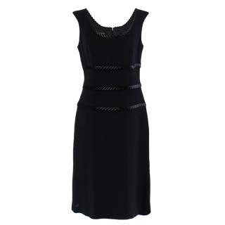 Escada Black Satin Trimmed Midi Dress