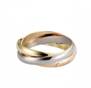 Cartier Small Trinity Ring in Rose, Yellow & White Gold - Size 55
