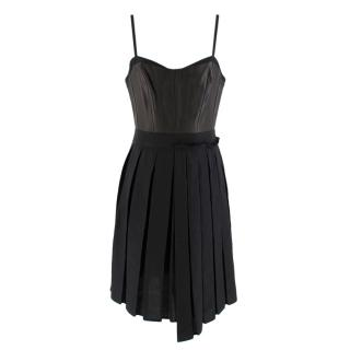 Rag & Bone Black Francis Linen and Leather Dress