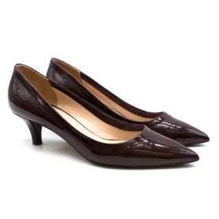 Prada Burgundy Patent Kitten Heel Pumps