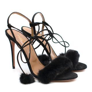 Aquazzura Black Wild Russian Mink Fur Heeled Sandals