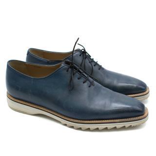 Berluti Venezia Blue Leather Lace Up Shoes