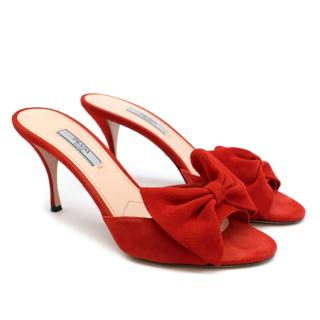 Prada Red Bow Embellished Suede Mules