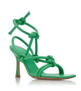 Bottega Veneta Dream Knotted Green Leather Sandals