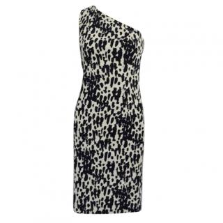 Michael Kors Animal Print One Shoulder Dress