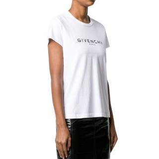 Givenchy White Broken Logo Print T-Shirt