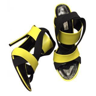 Balenciaga Black & Yellow Strappy Sandals