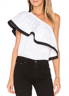 Milly White One Shoulder Ruffle Top