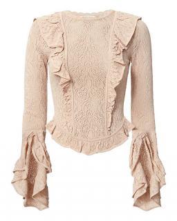 Ronny Kobo Ruffle Detail Pointelle Knit Sweater