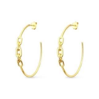 Slavatore Plata 14kt Gold Plate Link Hoop Earrings