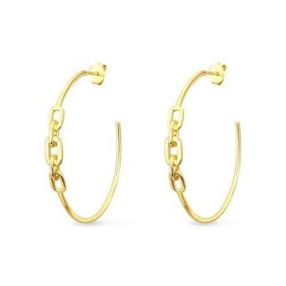 Slavatore Plata 14kt Gold Plate Link Hoop Earrings