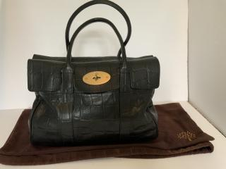 Mulberry Black Croc Embossed Bayswater Tote Bag