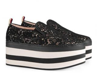 Prada Black Lace Platform Sneakers