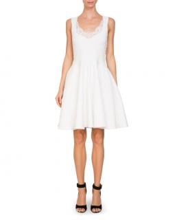 Givenchy sleeveless damask jacquard white skater dress