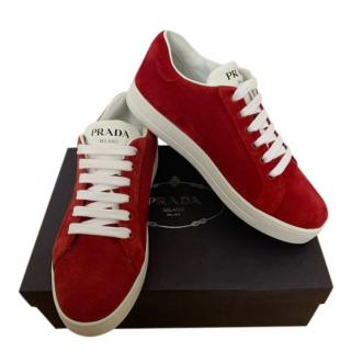 Prada Red Suede & Leather Low-Top Sneakers