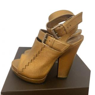 Bottega Veneta Gold Peep-Toe Block Heel Booties