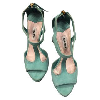 Miu Miu Green Suede Platform Sandals