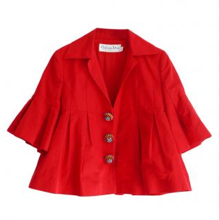 Christian Dior John Galliano red silk/cotton blend embellished jacket