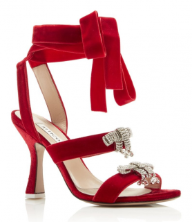 Attico Red Velvet Crystal Embellished Sandals