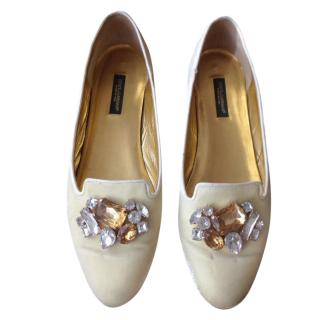 Dolce and Gabbana velvet crystal embellished  loafers