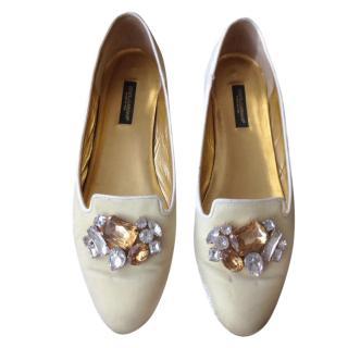 Dolce and Gabbana velvet crystal embellished  loafers