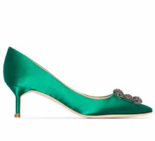 Manolo Blahnik Green Satin Hangisi 50mm pumps