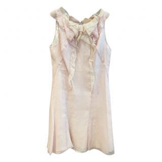 Nina Ricci Blush Silk Ruffled Dress