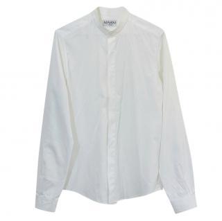 Advani White Cotton Shirt with Mandarin Collar