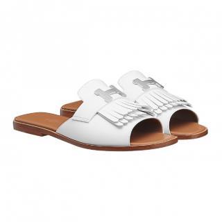 Hermes Auteuil White Sandals