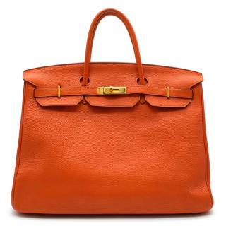 Hermes Orange Clemence Leather Birkin 40