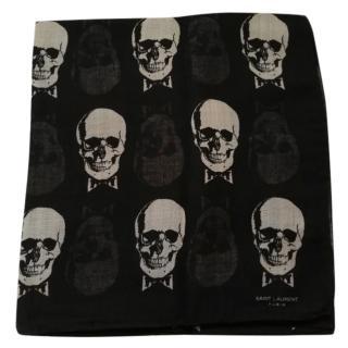 Saint Laurent Black & White Skull Scarf