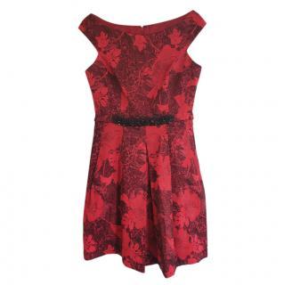 Erdem Red Brocade Sleeveless Dress