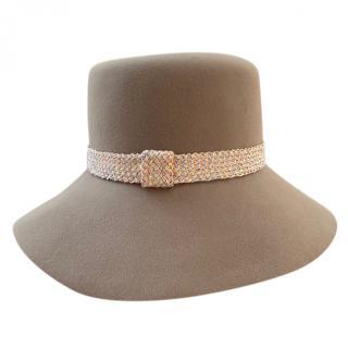 Maison Michel taupe grey panama hat