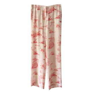 MaxMara silk wide leg toile de jouy pants