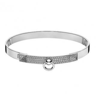 Hermes Diamond Kelly Bracelet in White Gold