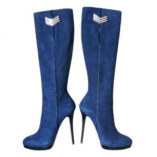 Gianmarco Lorenzi Blue Suede Knee Boots